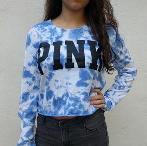PINK White & Blue Tie Dye Long Sleeve Top